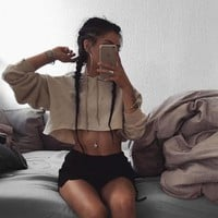 Cotton Long Sleeve Women Hoodie Blouse Crop Top Shirt Sweatshirt