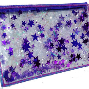 Purple Pencil Case Travel Makeup Bag Iridescent Bag Vinyl Cosmetic Case Teen Girl Gifts
