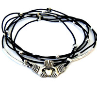 Irish Claddagh Bracelet Set (Silver and Black)