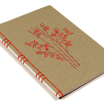 Bamboo Trees. Embroidered A6 Notebook. Grey A6 Notebook. Gray Nature Notebook. Red Bamboo. Mini Journal. Pocket Notebook. Garden Mini Book