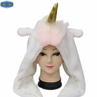 Unicorn Hat Plush Cap with Golden Horn and Rainbow Mane Cosplay Costume Hood