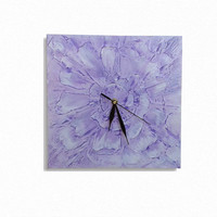 UNIQUE Abstract Flower WALL CLOCK, art design Handmade Clock, lavender light purple white wall decor gift , children room, bedroom