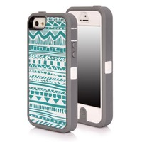 iPhone 5S Case, SGM Apple iPhone 5S / iPhone 5 (16GB, 32GB, 64GB, Unlocked T-Mobile, AT&T, Verizon, Sprint 4G LTE)) Multiple layer protection High Impact Hybrid Armor Case (Gray + White (Tribal), iPhone 5S / 5)