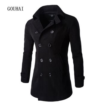 Autumn Winter Jacket Men Peacoat Solid Fashion Long Coat Men's Windbreakers Double Breasted Mens Overcoat Chaqueta Hombre M-XXL