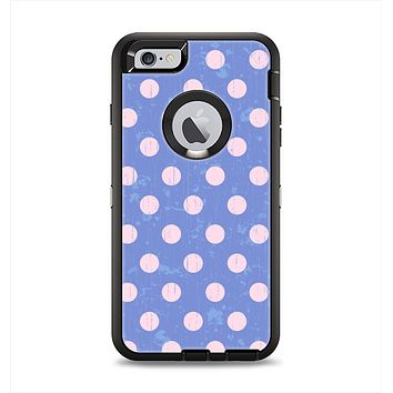 The Vintage Scratched Pink & Purple Polka Dots Apple iPhone 6 Plus Otterbox Defender Case Skin Set