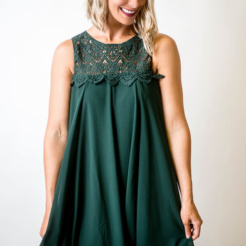 Green Lace Top Babydoll Dress