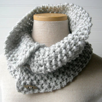 Hand Knit Button Up/ button down Cowl Scarf Soft by WindyCityKnits