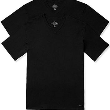 Calvin Klein Men's Big and Tall Cotton Classics 2 Pack V Neck T-Shirts