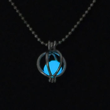 Sky blue glow in the dark pumpkin pendant necklace, key ring, or rear view mirror hanger