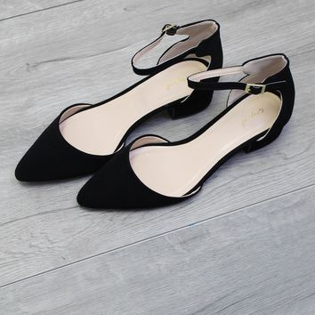 Black Closed Toe Ankle Strap Heel