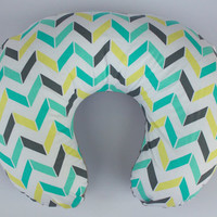 Gray, Teal, and Yellow Chevron Neutral Boppy Cover