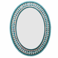 Teal and Copper Mosaic Wall Mirror // Mixed Media Mosaic // Jeweled Home Decor