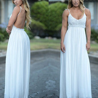 White Crochet Lace Spaghetti Strap Backless Chiffon Maxi Dress