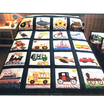 "1980s TRANSPORTATION QUILT PATTERN  66"" x 84"" Quilt Blanket, Pillow Better Homes & Gardens Custom Product No. 01138 Craft Sewing Patterns"
