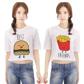 Women's t-shirts best friends t shirt Letter printing mike's harajuku kawaii Cartoon white T-Shirts Plug size Twin shirts NV16-J