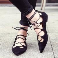 Lace Up Ankle Strap Flats