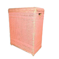 Vintage Pink Wicker Laundry Hamper Shabby Chic Cottage Style