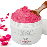 Allure Deluxe Roseraie Best Resurfacing Body Polish and Hydrator, with Anti Cellulite action, 12 oz. Scrub and moisturizer in one. Infused with Rose and Vanilla.