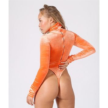 Turtleneck Zip Up Thong BodySuit