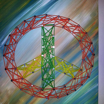 Creative Colorful Handmade Peace Sign Nail and String Art