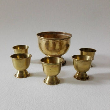 Set of 6 brass goblets, vintage brass, vintage goblets, goblets, vintage brass decor church, brass decor, church decor, collectibles brass,
