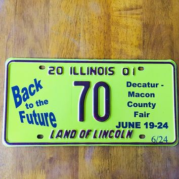 2001 Illinois Land of Lincoln Decatur Macon County Fair License Plate 70