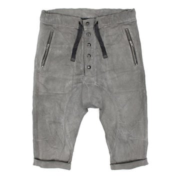 CONTINUUM MEN'S SHORTS - Gray Hand Painted Heathen Short - Stretch Twill Cotton - Button Fly - Leather Ribbed Pockets - Brass Key Loop