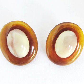 Vintage Monet Clip-on Earrings - Signed Oval Amber and Cream Lucite Earrings, Costume Jewelry
