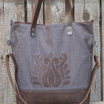 Brown Handbag, Three-Ways Tote Bag, Hungarian Embroidery, Big Bag, Foldover Bag with Genuine Leather Straps, Zippered Bag, Appliqued Bag