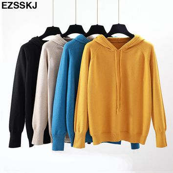 2018 Autumn winter Women hooded Sweater Pullovers long sleeve girl casual thick Sweater shirt Female loose sweater Knit top