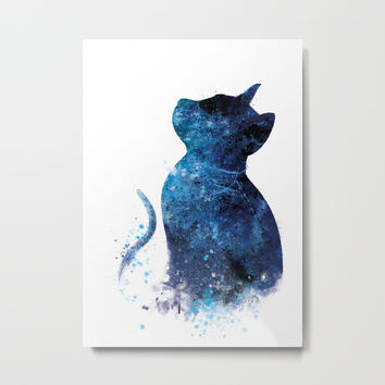 Blue Cat Metal Print by monnprint