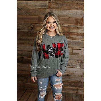 LOVE Shirt with Buffalo Plaid / Black Mermaid Sequin State
