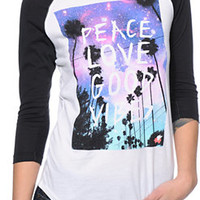 Glamour Kills Peace Love Good Vibes White Baseball Tee Shirt at Zumiez : PDP