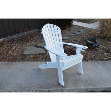 A&L Furniture Company Folding Recycled Plastic Adirondack Chair With Cupholders  - Ships FREE in 5-7 Business days
