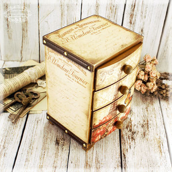 Parisian mysteriesVintage look Mini decoupage wooden chest drawers/ French style