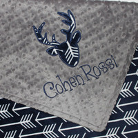 Personalized Baby Boy Blanket, Deer Head Blanket, Arrows Blanket, Navy and Gray Blanket, Buck Head Blanket, Double Minky Blanket
