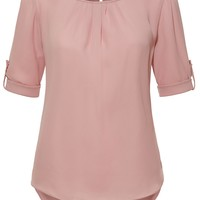 Boat Neck Pleated 3/4 Sleeve Chiffon Blouse Top