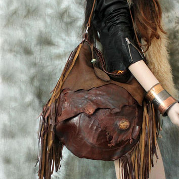 XXL Cognac brown bag mix of leather raw edges purse bohemian fringed fringe tote large asymmetrical distressed strap tribal free people