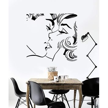 Wall Sticker Kiss Kissing Couple Romantic Love Decor For Pop Art Bedroom Unique Gift (z2577)
