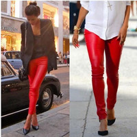 Lady in Red Faux Leather Leggings