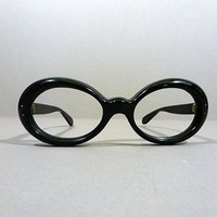 Vintage 50s Bausch & Lomb Oval Cat Eye Glasses Frames / Thick Black Plastic / Sunglasses