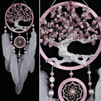 Pink Dream Catcher Tree of life small Dreamcatcher wedding Dream сatcher cat's eye gemstone gray dreamcatchers handmade gift gray cat's eye