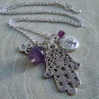 Hamsa Hand Charm Necklace With Tree of Life and Om Charm,  Amethyst & Swarovski Crystals - Bohemian Style Yoga Jewelry