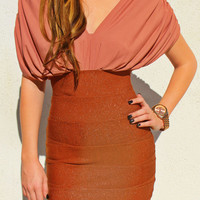 Pink Sparkly Brown Bandage Dress