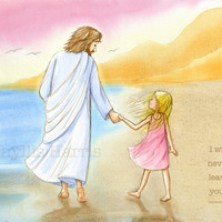 Jesus and little girl walking on the beach - Inspirational Wall Art