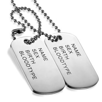 Boniskiss Stainless Steel Dog Tag Necklace Trendy Men Necklace Jewelry High Polished Pendentif Jewelry