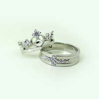 Engravable Men and Women Couples Engagement Rings Set for 2