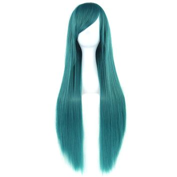 Soowee 32inch Long Synthetic Hair Green Purple Cosplay Wigs Heat Resistant Fiber Party Black Hair Straight Wig Hairpiece