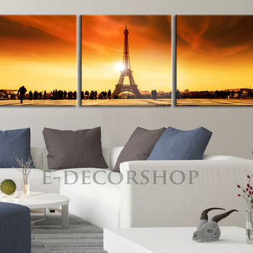 Large Wall Art Panoramic Eiffel Tower at Sunset Landscape on Canvas -  Eiffel Tower Canvas Print, Paris Eiffel Decor Theme