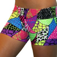 Jungle Safari Spandex Shorts (4 In. Adult S 4-6, Jungle Safari)